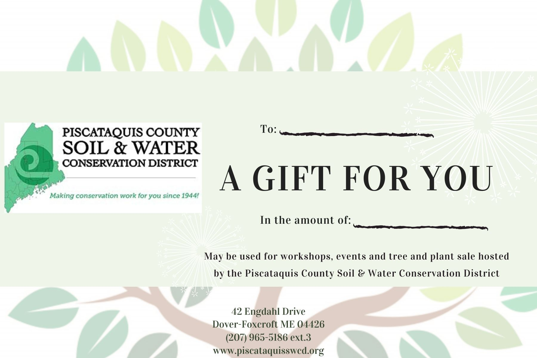 Pcswcd Gift Certificates
